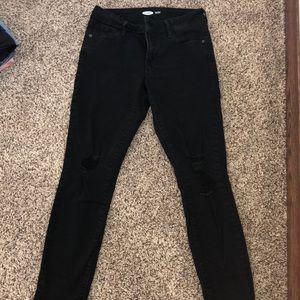 black ripped rockstar super skinny jeans